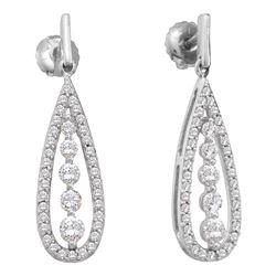 Diamond Teardrop Dangle Screwback Earrings 3/4 Cttw 14kt White Gold