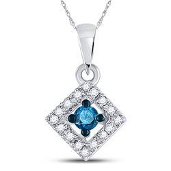 Round Blue Color Enhanced Diamond Square Pendant 1/5 Cttw 10kt White Gold
