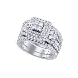 Diamond Cluster Wedding Bridal Ring Set 2.00 Cttw 14kt White Gold