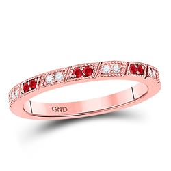 Round Ruby Diamond Milgrain Stackable Band Ring 1/4 Cttw 10kt Rose Gold