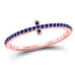 Round Blue Sapphire Cross Stackable Band Ring 1/6 Cttw 10kt Rose Gold