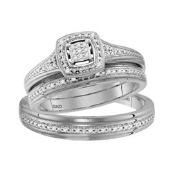 His & Hers Diamond Cluster Matching Bridal Wedding Ring Band Set 1/10 Cttw 10kt White Gold