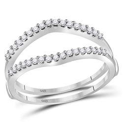 Diamond Ring Guard Wrap Enhancer Wedding Band 1/4 Cttw 14kt White Gold