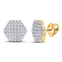 Mens Diamond Hexagon Cluster Stud Earrings 1/5 Cttw 10kt Yellow Gold