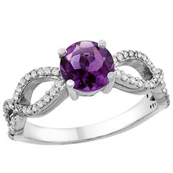 1 CTW Amethyst & Diamond Ring 10K White Gold - REF-49W6F