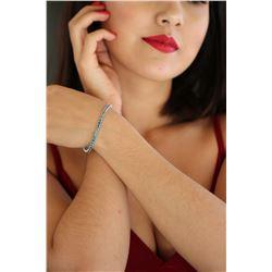 Natural 6.12 ctw Blue Diamond Eternity Tennis Bracelet 14K White Gold - REF-409A3X