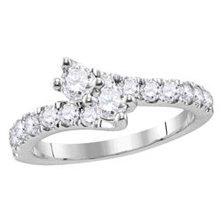 Diamond 2-stone Bridal Wedding Engagement Ring 1.00 Cttw 14kt White Gold