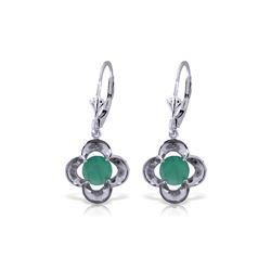 Genuine 1.10 ctw Emerald Earrings 14KT White Gold - REF-41A4K