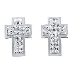 Diamond Cross Religious Stud Earrings 1/6 Cttw 10kt White Gold