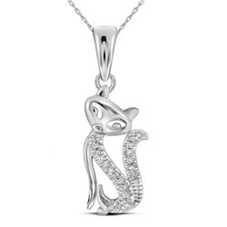 Diamond Kitty Cat Animal Pendant 1/20 Cttw 10kt White Gold