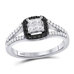 Round Black Color Enhanced Diamond Cluster Ring 1/2 Cttw 10kt White Gold