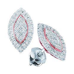 Diamond Cluster Oval Rose-tone Stud Earrings 1/5 Cttw 10kt White Gold