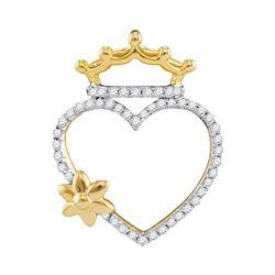 Diamond Heart Crown Flower Pendant 1/4 Cttw 10kt Yellow Gold