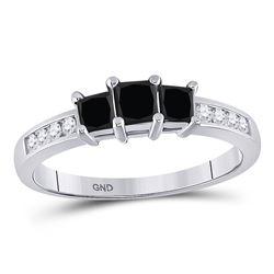 Round Black Color Enhanced Diamond 3-stone Bridal Wedding Engagement Ring 7/8 Cttw 10kt White Gold
