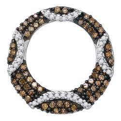 Round Brown Diamond Stripe Circle Pendant 3/8 Cttw 10kt White Gold
