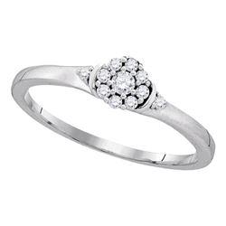 Diamond Cluster Promise Bridal Ring 1/6 Cttw 10kt White Gold