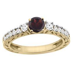 1.36 CTW Garnet & Diamond Ring 14K Yellow Gold - REF-79H5M