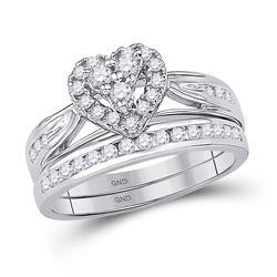 Diamond Heart Bridal Wedding Engagement Ring Band Set 1/2 Cttw 10kt White Gold