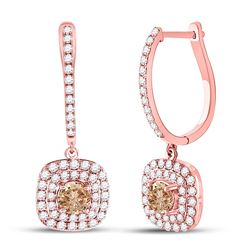 Round Brown Diamond Dangle Earrings 2-1/3 Cttw 14kt Rose Gold