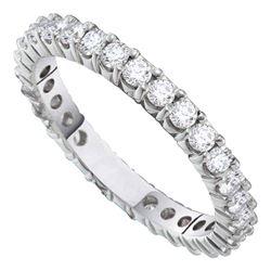 Round Pave-set Diamond Eternity Wedding Anniversary Band 1.00 Cttw 14kt White Gold