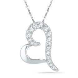Diamond Heart Pendant 1/12 Cttw 10kt White Gold
