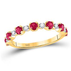 Round Lab-Created Ruby Band Ring 1.00 Cttw 10kt Yellow Gold