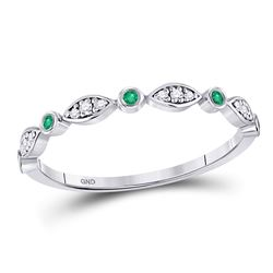 Round Emerald Diamond Marquise Dot Stackable Band Ring 1/8 Cttw 10kt White Gold