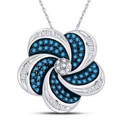 Round Blue Color Enhanced Diamond Pinwheel Cluster Pendant 1/2 Cttw 10kt White Gold
