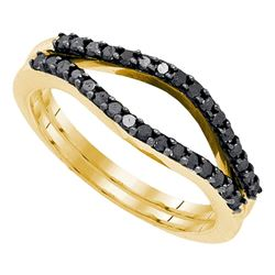 Round Black Color Enhanced Diamond Ring Guard Wrap Solitaire Enhancer 1/3 Cttw 10kt Yellow Gold