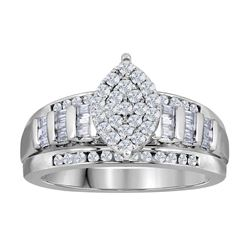 Diamond Cluster Bridal Wedding Engagement Ring 1.00 Cttw 10kt White Gold