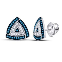 Round Blue Color Enhanced Diamond Triangle Frame Cluster Earrings 1/3 Cttw 10kt White Gold