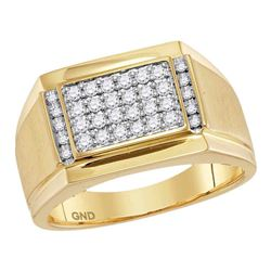 Mens Diamond Square Cluster Ring 3/8 Cttw 14kt Yellow Gold