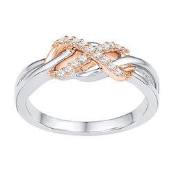Diamond Infinity Twist Ring 1/8 Cttw 10kt Two-tone Gold