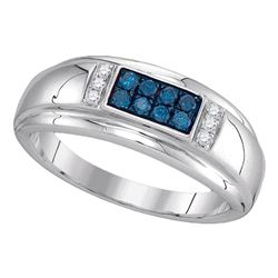 Mens Round Blue Color Enhanced Diamond Band Ring 1/3 Cttw 10kt White Gold