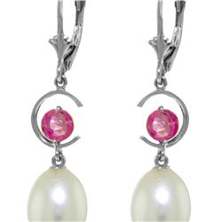 Genuine 9 ctw Pink Topaz Earrings 14KT White Gold - REF-36X8M