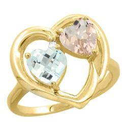 1.91 CTW Diamond, Aquamarine & Morganite Ring 14K Yellow Gold - REF-40F7N