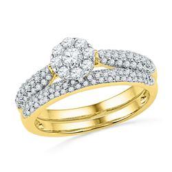 Diamond Cluster Bridal Wedding Engagement Ring Band Set 5/8 Cttw 10kt Yellow Gold