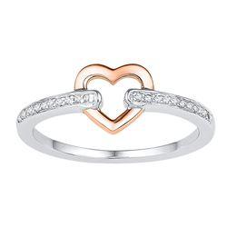 Diamond Rose-tone Bound Heart Ring 1/12 Cttw 10kt White Gold