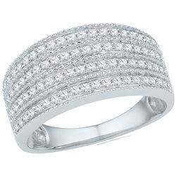 Diamond Four Row Milgrain Band Ring 1/2 Cttw 10kt White Gold