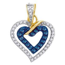 Round Blue Color Enhanced Diamond Heart Pendant 1/4 Cttw 10kt Yellow Gold