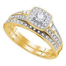 Diamond Bridal Wedding Engagement Ring Band Set 1/2 Cttw 10k Yellow Gold