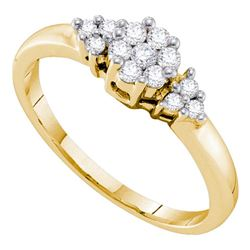 Diamond Cluster Fashion Ring 1/4 Cttw 14kt Yellow Gold