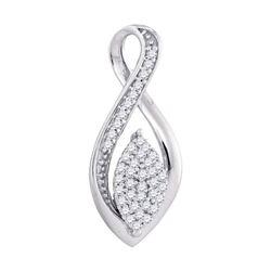 Diamond Oval Cluster Fashion Pendant 1/10 Cttw 10kt White Gold