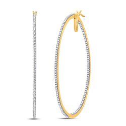 Diamond Large Hoop Earrings 3/4 Cttw 10kt Yellow Gold