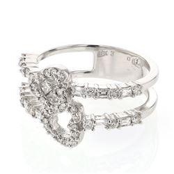 0.81 CTW Diamond Ring 18K White Gold - REF-97F4N