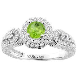 0.95 CTW Peridot & Diamond Ring 14K White Gold - REF-88M7K