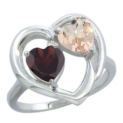 1.91 CTW Diamond, Garnet & Morganite Ring 10K White Gold - REF-26Y5V