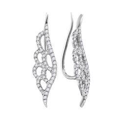 Diamond Winged Climber Earrings 1/3 Cttw 10kt White Gold
