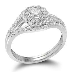 Diamond Cluster Wedding Flower Floral Bridal Ring Set 1/4 Cttw 10k White Gold
