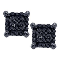 Mens Round Black Color Enhanced Diamond Square Cluster Earrings 1/12 Cttw 10kt White Gold